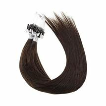 Hetto #2 Darkest Brown Human Hair Link Micro Rings Beads Extensions 50Gram 1G/St image 2