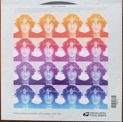 Primary image for Music Icons JOHN LENNON (1940-1980) - (USPS)  FOREVER STAMPS 16 stamps, mint