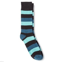 Dress Socks 6 12 Merona Blue Black Wide Stripes NEW Mens - $12.00