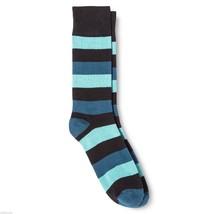 Dress Socks 6 12 Merona Blue Black Wide Stripes NEW Mens - $12.00