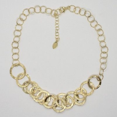 925 STERLING SILVER NECKLACE GOLD PLATED CIRCLES MADE IN ITALY BY MARIA IELPO
