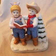 """Porcelain Denim Days """"Let's Go Caroling"""" Boy& Girl Figurine 1998 15341-9... - $11.14"""