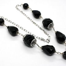 925 silver necklace, black onyx round, drop, pendant cluster image 4