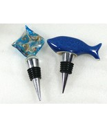 lot of 2 Figural Blue fish whale & art glass Wine Bottle Decanter Stoppe... - $20.79
