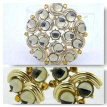 VTG RARE CROWN TRIFARI Gold Tone Gray Topaz Glass Cabochon Brooch Earrin... - $148.50