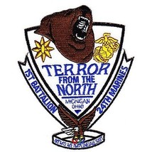 USMC 1ST BATTALION 24th MARINE Patch TERROR FROM THE NORTH MICHIGAN OHIO - $1,000.00