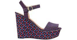 Tory Burch Women's Haven Platform Canvas Sandals Wedge Navy Sea Ocho Rios 9.5 - $110.39