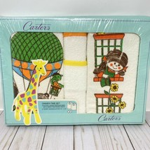 Vtg 70's Carters 2 Bibs & Washcloths HOT AiR Balloon New NOS - $37.99