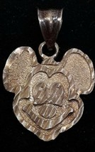Sterling Silver 925 Disney Mickey Mouse Diamond Cut Etched Textured Pendant - $42.09