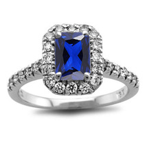 14k White Gold Over 925 Silver Emerald Cut Blue Sapphire Womens Engageme... - £58.95 GBP