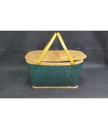 Vintage Woven Wicker Green Picnic Basket - $24.99
