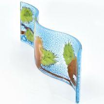Fused Art Glass Winter Pinecones Wavy Decor Holiday Sun Catcher Handmade Ecuador image 4