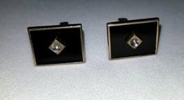 Black and Goldtone Vintage Swank Cufflinks - $12.00