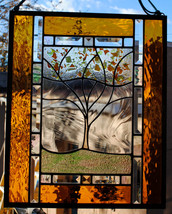 Stained Glass Window Personalized Autumn Family Tree Large fall colors gold ambe - $197.00