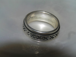 Estate 925 Sterling Silver Worry Spinner with Oxidized Slightly Raised C... - $27.94