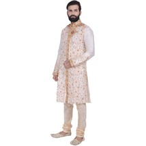 Indian Designer Bollywood Beige Kurta Sherwani For Men's 2pc Suit - €60,33 EUR+