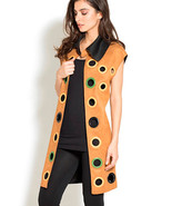 Camel/Black Reversible Faux Suede Grommet Jacket/Vest by Adore -  NEW MA... - $69.90