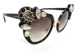 MIU MIU Women's Sunglasses MU04SS 1AB0A7 145 Black Acetate/Jewels ITALY ... - $255.00