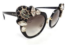 MIU MIU Women's Sunglasses MU04SS 1AB0A7 145 Black Acetate/Jewels ITALY ... - $255.00