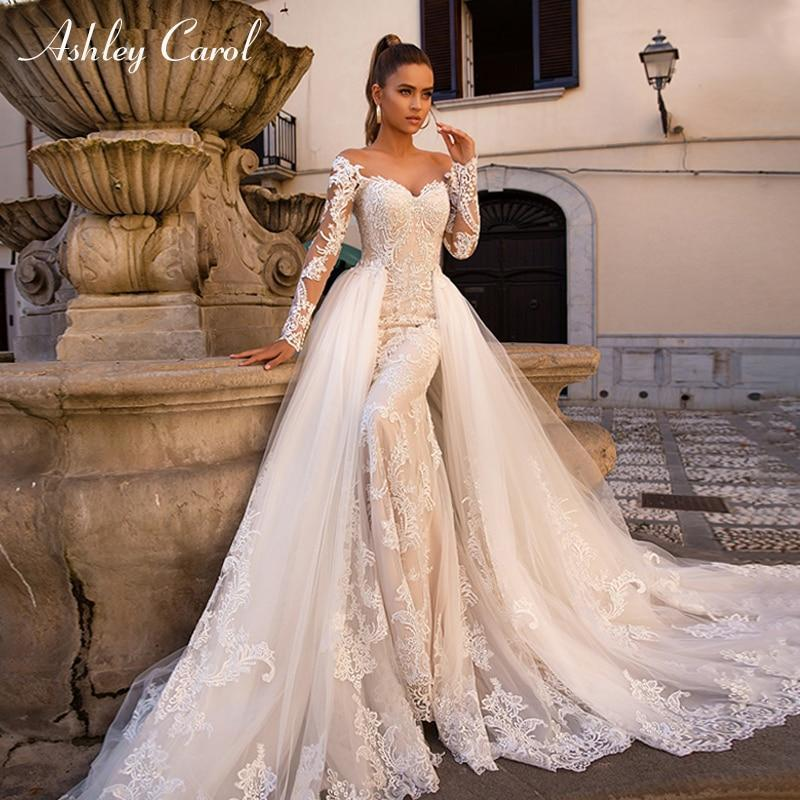 Detachable Trains For Wedding Gowns: Ashley Carol Sexy Sweetheart Long Sleeve Mermaid