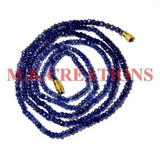 "Natural Iolite Gemstone 3-4mm Rondelle Faceted Beads 18"" Long Beaded Nec... - $18.22"