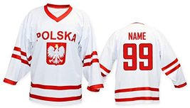 Any Name Number Polska Poland Retro Hockey Jersey White Any Size image 2