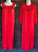 Vintage Nylon Set Small Nightgown Peignoir Gown Robe Romantic Prairie Lo... - $49.00