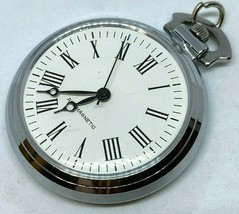 Vintage Classic Silver White Roman Dial Hand-Wind Mechanical Pocket Watc... - $18.99