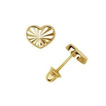 Diamond Cut Heart Shape Child Stud Earrings Screw Back 14K Solid Yellow ... - $65.33