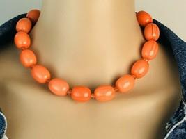 Vintage 80's Bright Orange Swirl Bead Choker Necklace 15 to 18 inch - $12.86