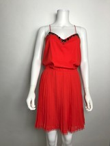 Victorias Secret Red Dress Pleated Rhinestone Neckline Spaghetti Strap S... - $21.21