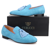 Handmade Men FERUCCI Blue suede with Big Blue Tassel Slippers loafers Flat - $169.99