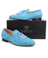 Handmade Men FERUCCI Blue suede with Big Blue Tassel Slippers loafers Flat - $169.99