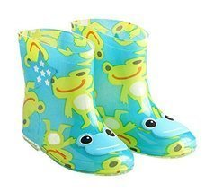 Cute Starry Kids' Rain Boots Green Frog Children Rainy Days Shoes 19CM