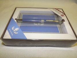 NEW CROSS GILFORD BALLPOINT PEN WITH NOTECARDS SET VIOLET AND CHROME AT0... - $24.70