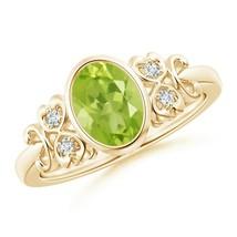 Vintage Style Bezel-Set 1.3ct Oval Peridot Ring with Diamonds Gold/Platinum - $572.42+