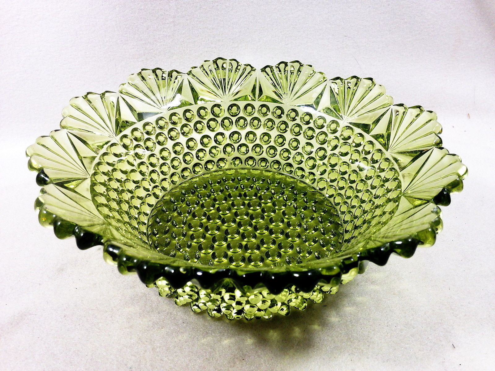 "Primary image for Imperial Glass 742 VERDE Green Hobnail and Fan 8.5"" Bowl Elegant Very Fine"