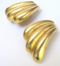 Vintage Big Gold Wave Clip Earrings - $11.40
