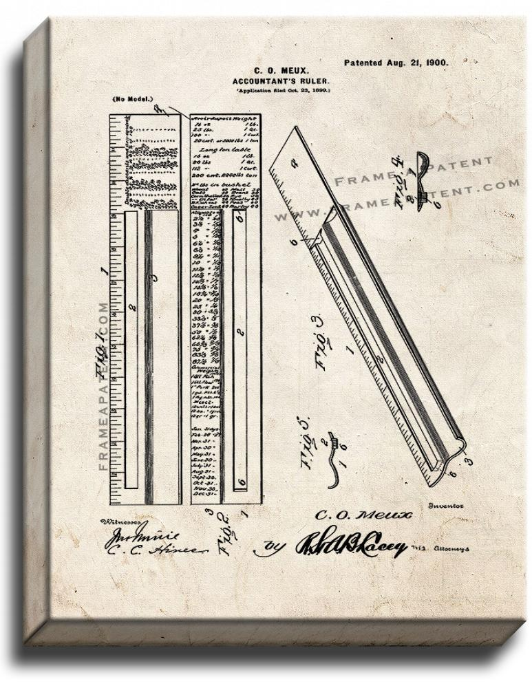 Primary image for Accountant's Ruler Patent Print Old Look on Canvas