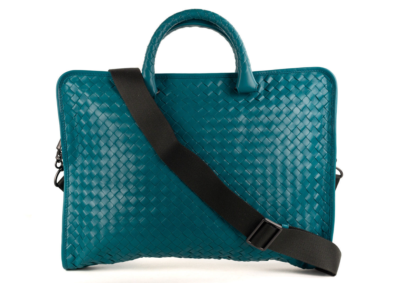 Bottega Veneta Teal Intrecciato Woven Leather Briefcase Bag~Retail  2800 -   1,239.75 ca814ddef3