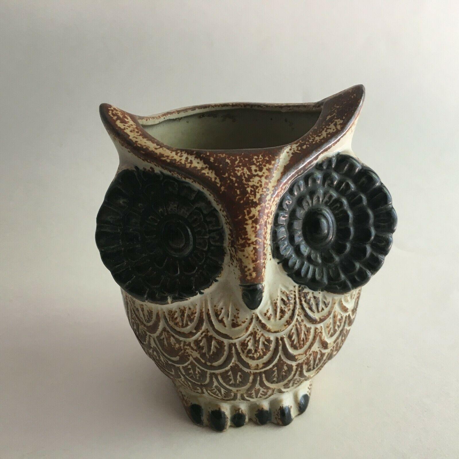 """Vintage Ceramic Owl Flower Vase Figurine 5.5"""" X 3"""" Brown & Cream Big Black Eyes"""