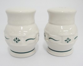 """Longaberger Green Woven Traditions Salt and Pepper Shakers 3-1/8"""" Potter... - $23.75"""