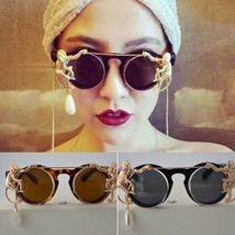 Women Sunglasses Retro Metal Leopard Frame Monkey Chain Pearl Round Sung... - $18.18