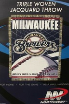 """Milwaukee Brewers 48"""" X 60"""" Woven Jacquard Afghan Throw Blanket Free Shipping - $16.25"""