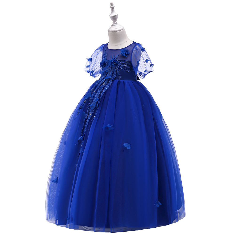 Sexy Blue  Tulle Lace Flower Girl Dress A Line Wedding Party Gowns A Line 2019 image 2