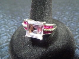Sterling Silver Amethyst, Ruby and Diamond Accent Statement Ring Size 10 - $124.74