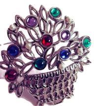 Vintage Silver Tone Figural Flower Basket Brooch - $20.00