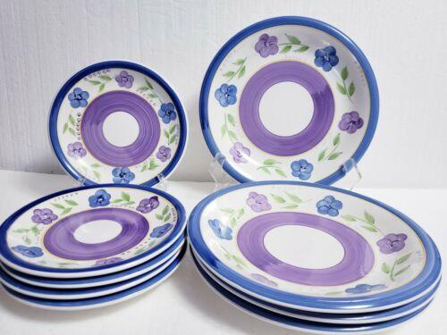 9 Piece GIBSON Mix n Match BELLA Blue Purple Floral - 4 Dinner, 5 Dessert Plates - $48.51