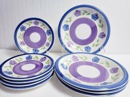 9 Piece GIBSON Mix n Match BELLA Blue Purple Floral - 4 Dinner, 5 Desser... - $48.51