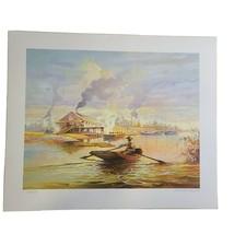 VTG Print Robert M. Rucker Boat Pearl River Signed & Numbered 437/1000 U... - $101.28